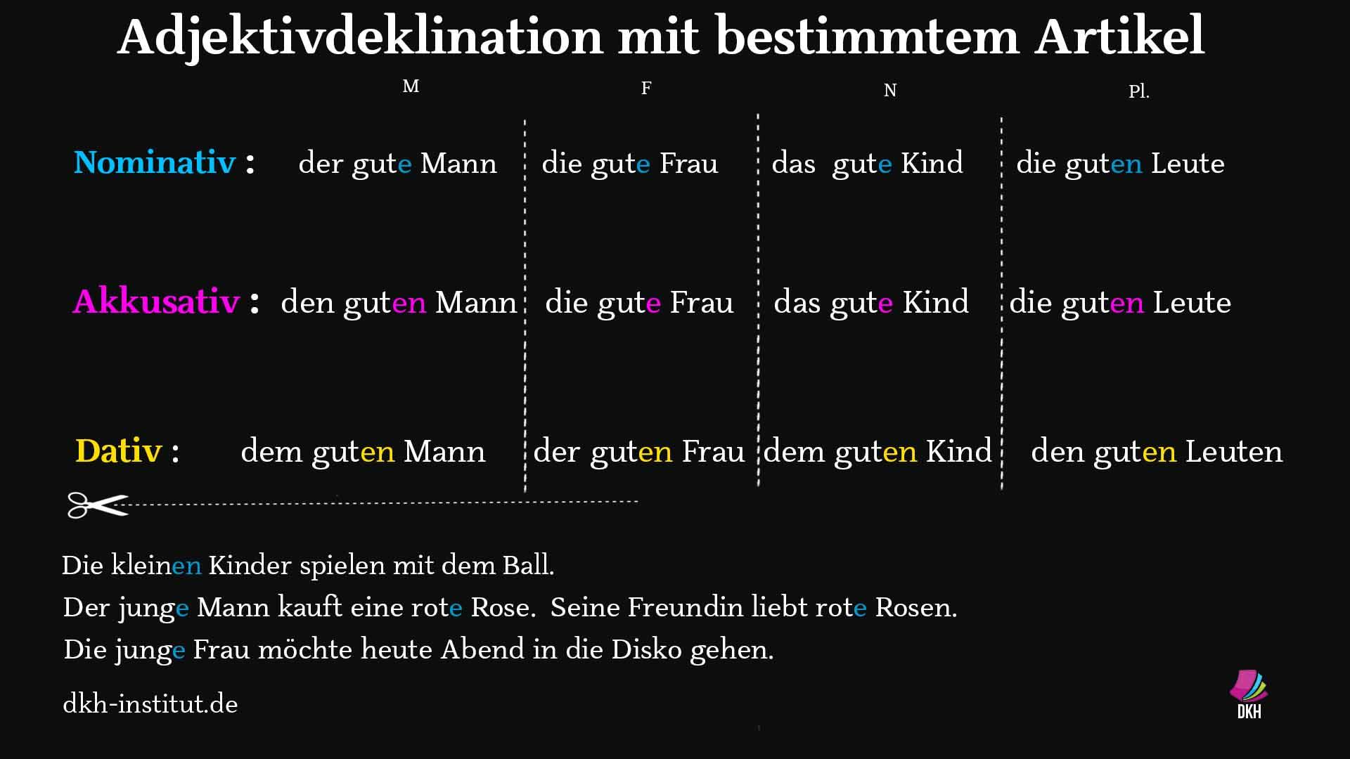Adjektivdeklination mit bestimmten Artikeln