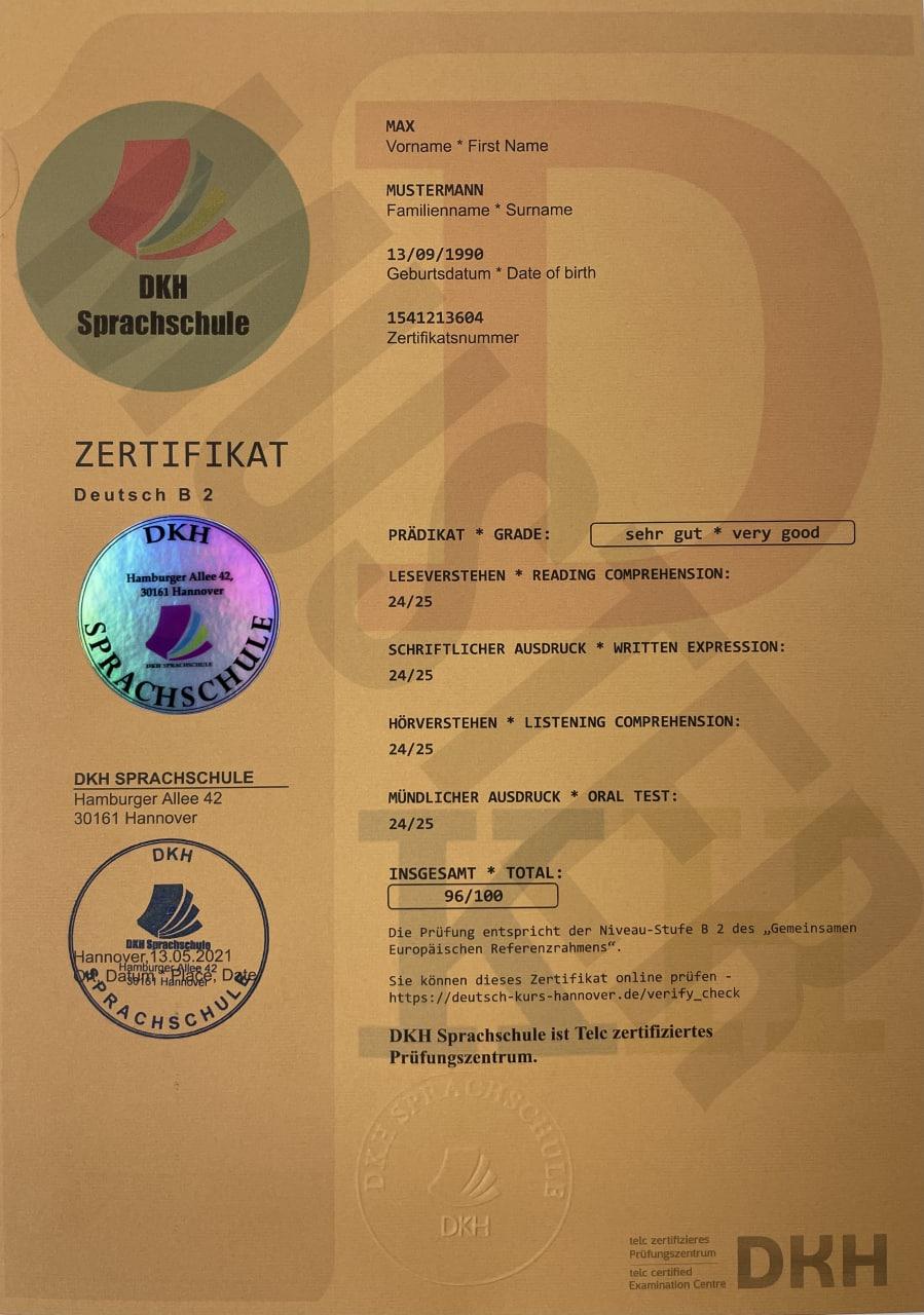 DKH Zertifikat Telc