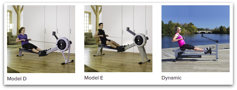 The current (2020) Concept2 indoor rower lineup (from their website).
