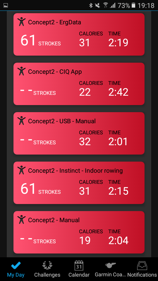 The 5 activities in Garmin Connect